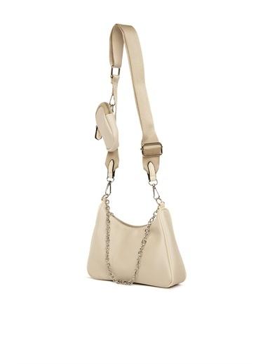 Bagmori Kadın Cüzdan Aksesuarlı Mini Askılı Çanta M000004155 Krem